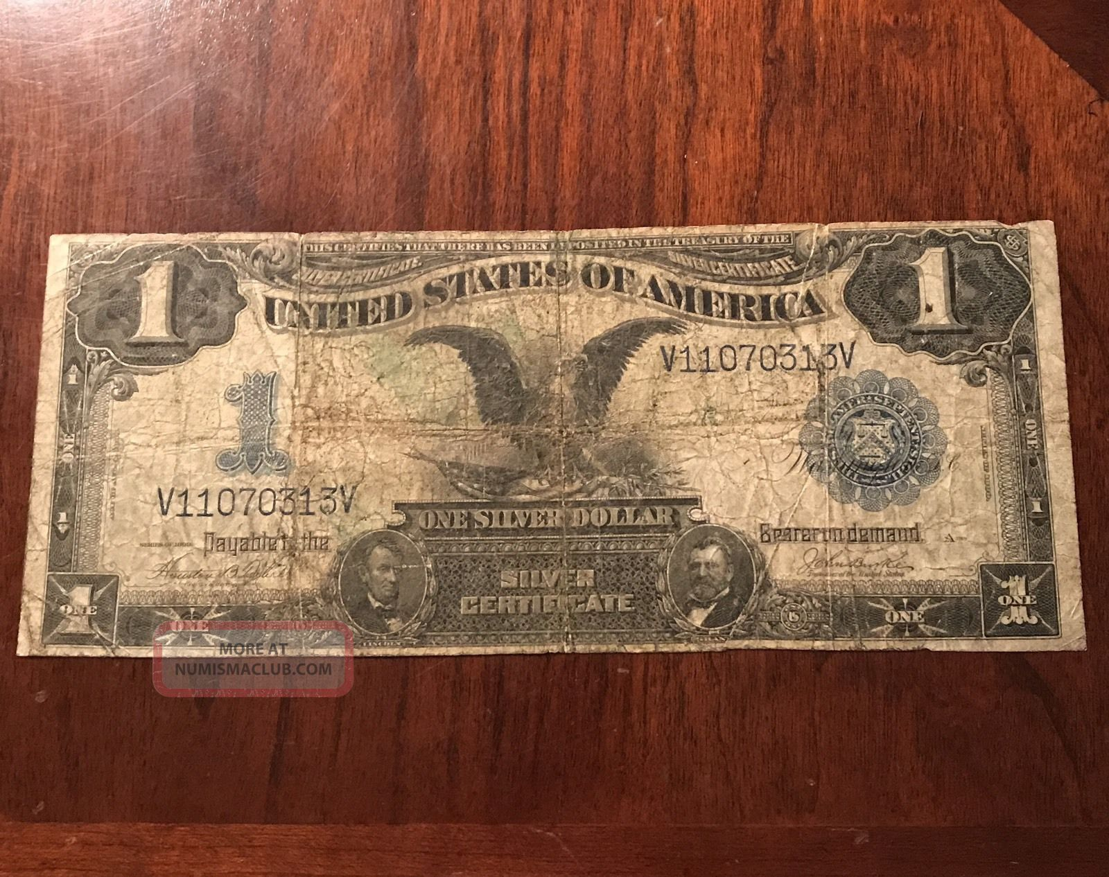 1 Dollar 1899 Silver Certificate Black Eagle Large Old