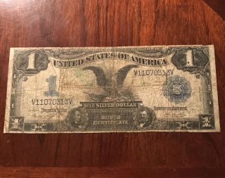 $1 Dollar 1899 Silver Certificate Black Eagle Large Old Vintage Us Bill - photo