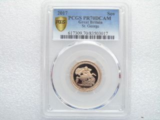 2017 Pistrucci 200th Anniversary Gold Proof Full Sovereign Coin Pcgs Pr70 Dcam photo