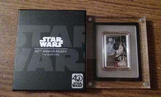 2017 Star Wars 40th Anniversary Poster 1 Oz Silver Coin photo