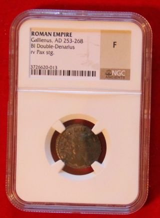 Ancient Roman Empire Gallienus Ad253 - 268 Bi Double - Denarius Copper - Fine Ngc photo