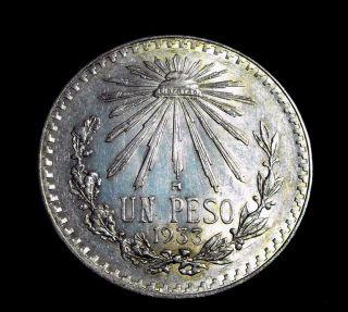 1933 - M Un Peso Silver Mexican Dollar Over Date Error On The