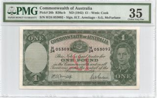 1942 Commonwealth Of Australia Kgvi One Pound Pmg 35 Pick 26b photo