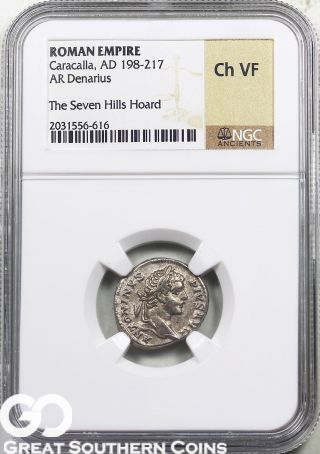 Roman Empire Ngc Caracalla,  Ad 198 - 217 Denarius Ngc Ch Vf photo