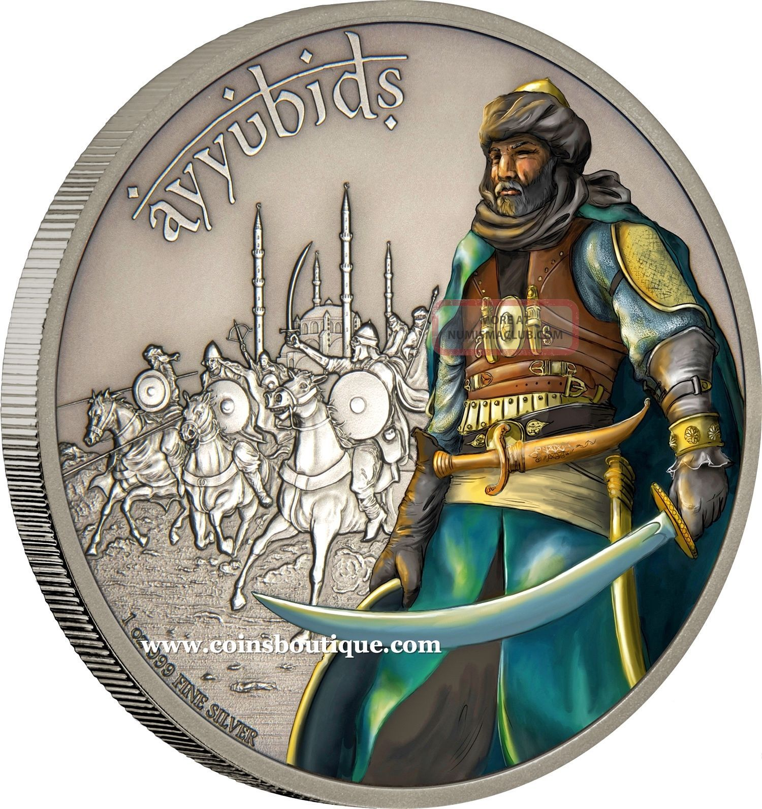 Ayyubids Warriors Of History 1oz Silver Coin Antiqued
