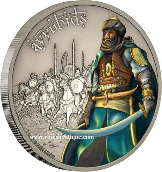Ayyubids - Warriors Of History 1oz Silver Coin Antiqued Niue 2017 photo