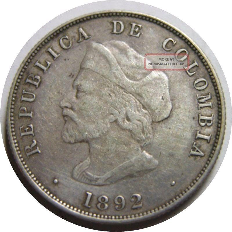 Elf Colombia Gran Colombia 50 Centavos 1892 Silver Columbus South America photo