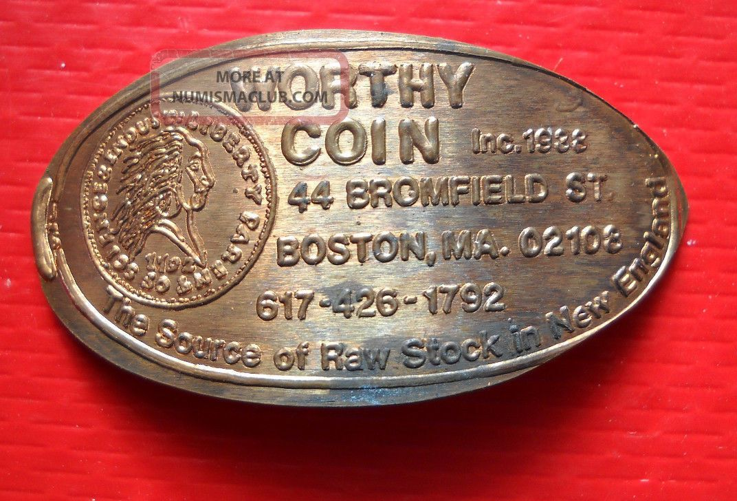 Worthy Coin Elongated Penny Boston Ma Usa Cent 1938 Souvenir Coin Exonumia photo