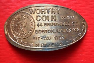 Worthy Coin Elongated Penny Boston Ma Usa Cent 1938 Souvenir Coin photo