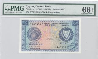 1975 - 82 Cyprus,  Central Bank Of Cyprus,  250 Mils Pmg 66 Epq Gem Unc,  P : 41c photo