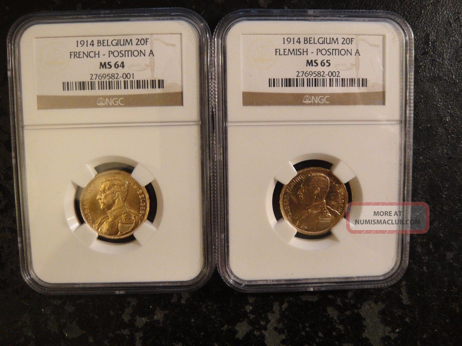 Pair (2) 1914 Belgium Gold 20 Francs.  French & Flemish.  Ngc Ms64 & Ms65 Europe photo