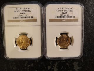 Pair (2) 1914 Belgium Gold 20 Francs.  French & Flemish.  Ngc Ms64 & Ms65 photo