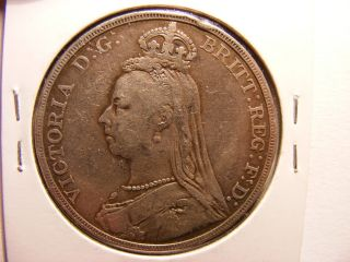 Great Britain Large Silver 1 Crown,  1889,  Fine,  Small Edge Bump photo