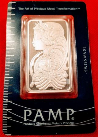 1.  0 Oz 999 Pamp Suisse Vintage Fortuna Silver Art Bar (pre - 2000) In Assay Card photo