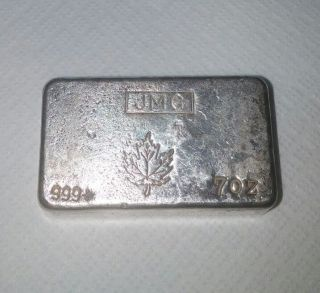 Johnson Matthey Canada Maple Leaf.  999 Silver 7 Oz Bar Old Poured Type photo