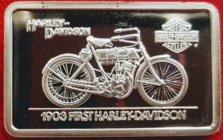 Harley Davidson Art Bar,  1.  4 Oz.  999 Silver,  1903 First Harley Davidson Rare photo