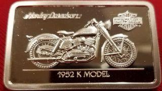 Harley Davidson Art Bar,  1.  4 Oz.  999 Silver,  1952