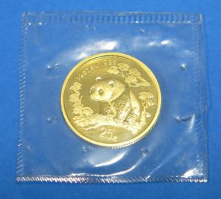 1997 25 Yuan 1/4oz.  999 Au Gold Panda Coin Proof Chinese 8.  4g photo