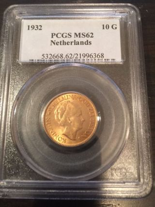 1932 Netherlands Gold 10g Ms 62 Pcgs photo