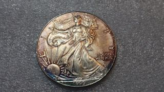 1999 1 Oz Silver American Eagle Bu (unique Toning) photo