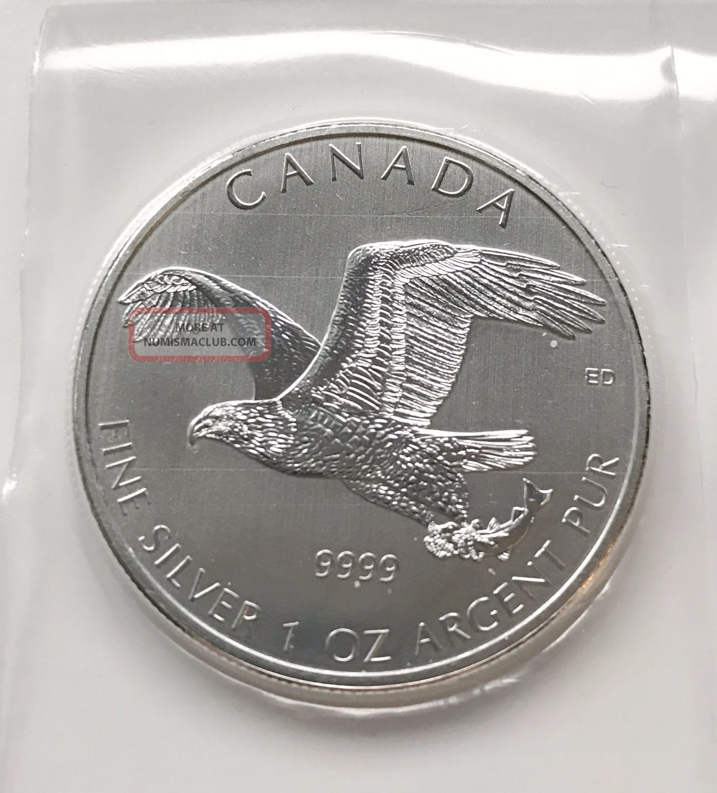 2014 Birds Of Prey Series Bald Eagle In Flex - 1 Oz Silver Coin.  9999 Silver photo