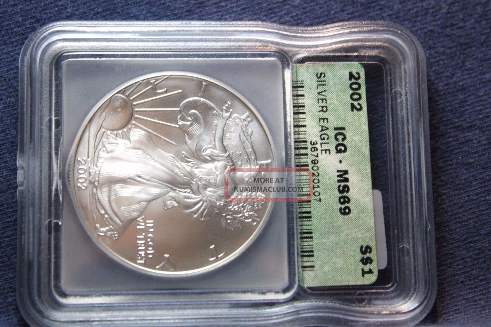 2002 Silver American Eagle Ms 69 Icg Coins photo
