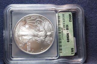 2002 Silver American Eagle Ms 69 Icg photo