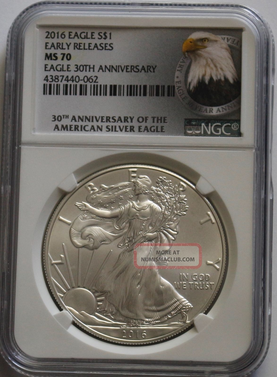 2016 American Eagle 1 Oz Silver Ngc Ms70 Early Release Eagle 30th Anniversary Silver photo
