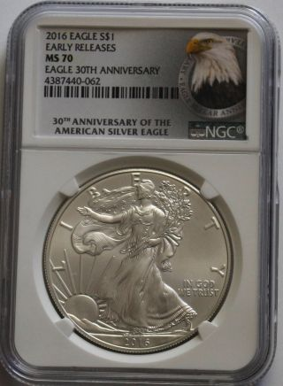 2016 American Eagle 1 Oz Silver Ngc Ms70 Early Release Eagle 30th Anniversary photo