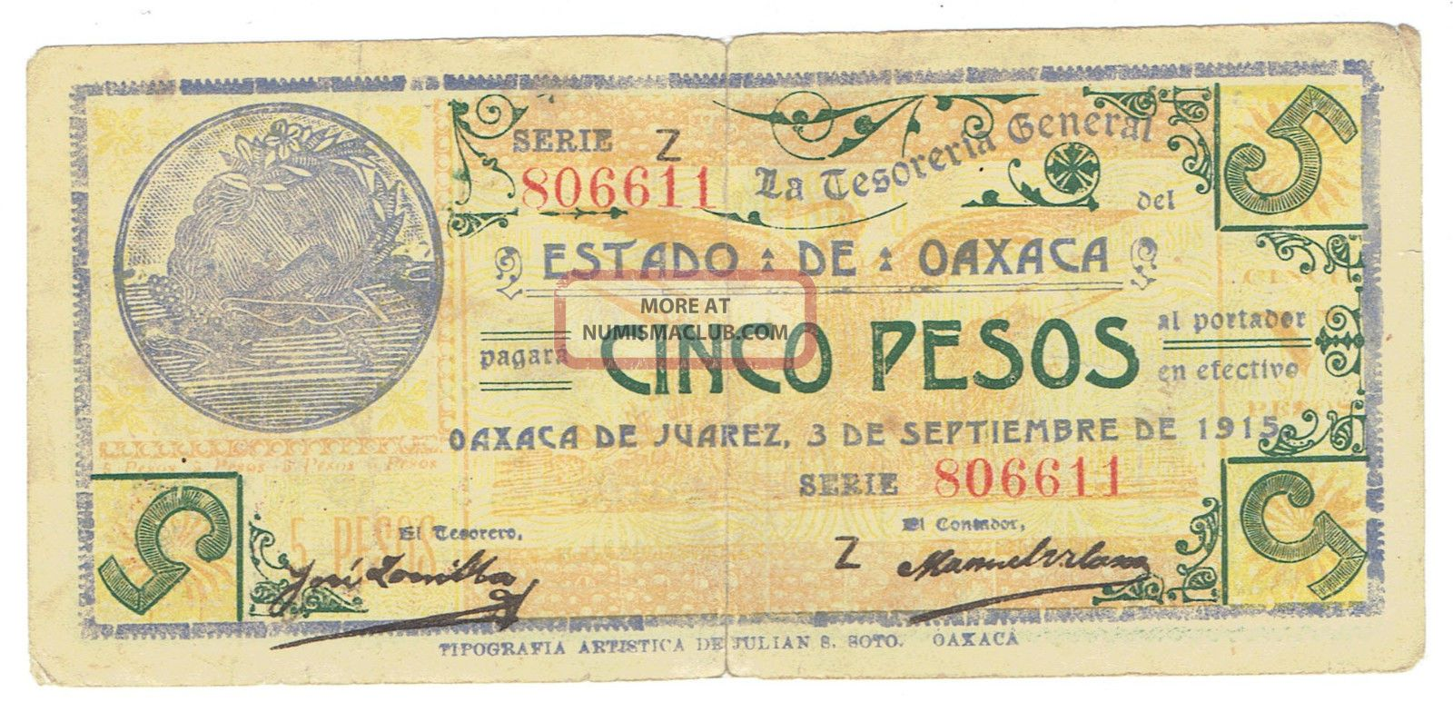 Mexico S954 Five Pesos 1915 Revolutionary Issue North & Central America photo