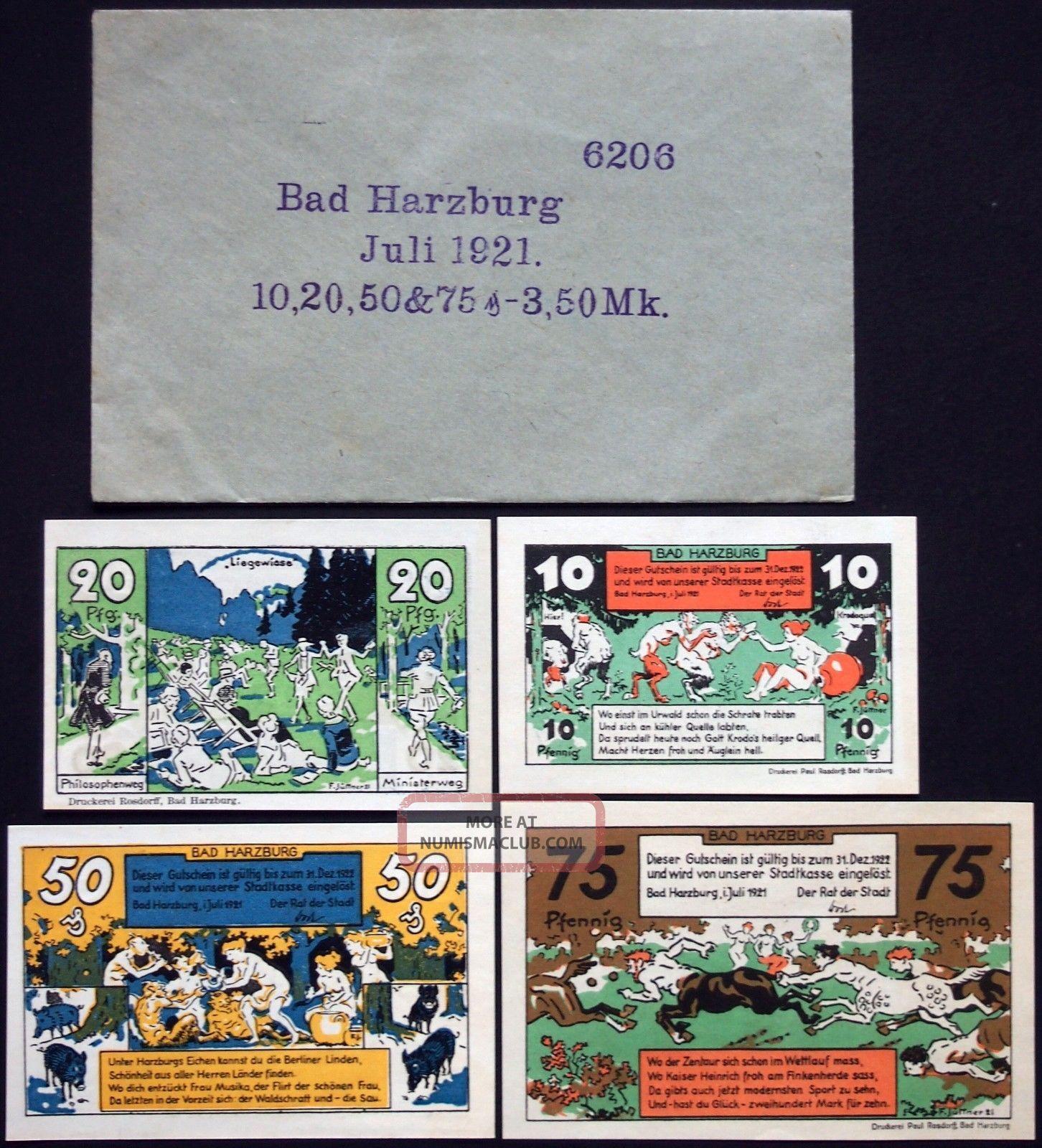 Bad Harzburg 1921 Complete Series In Rare Robert Ball Envelope German Notgeld Europe photo