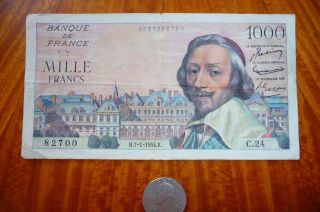 1000 Francs Bank Note France 1954 Very Good photo