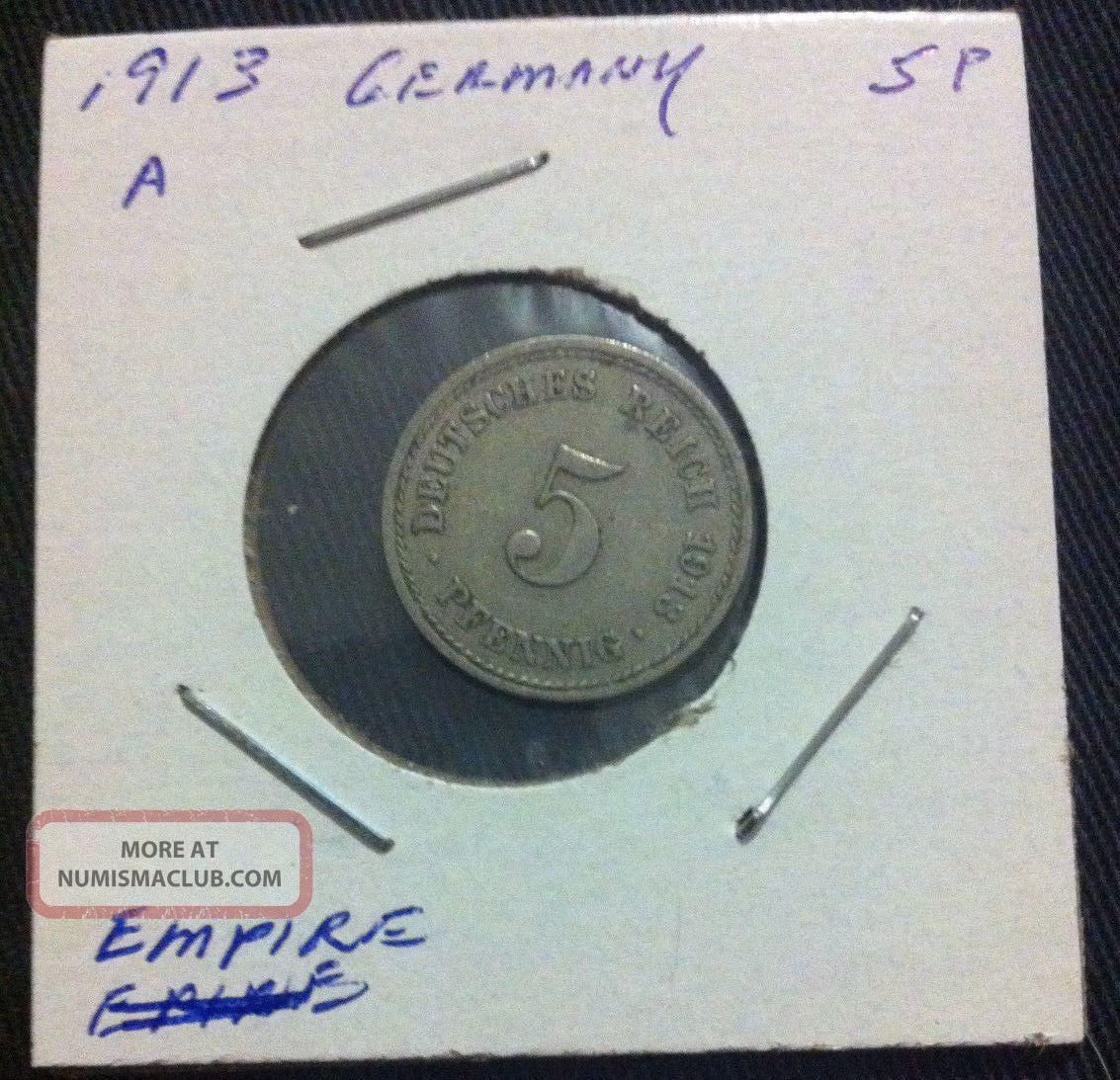 5 Pfennig - Deutsches Reich 1913 A - Old German Empire Coin Pre World War 1 Ww1 Empire (1871-1918) photo