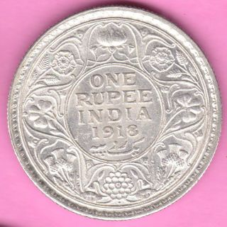 British India - 1918 - One Rupee - King George V - Rarest Silver Coin - 19 photo