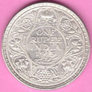 British India - 1913 - One Rupee - King George V - Rarest Silver Coin - 18 photo