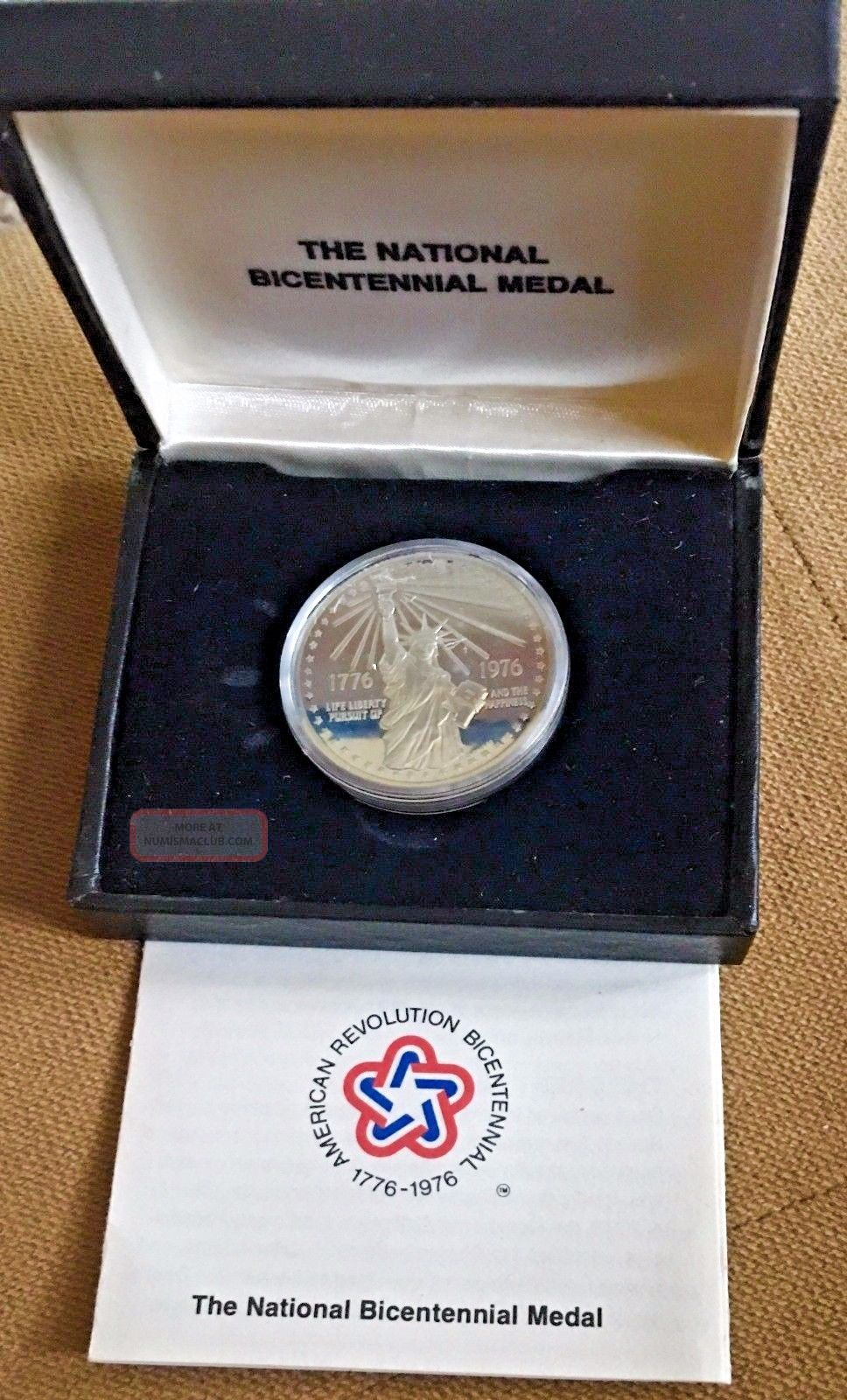 1976 National Bicentennial Silver Medal Statue Of Liberty And - Exonumia photo
