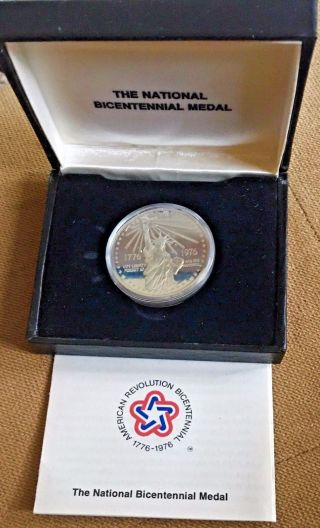 1976 National Bicentennial Silver Medal Statue Of Liberty And - photo