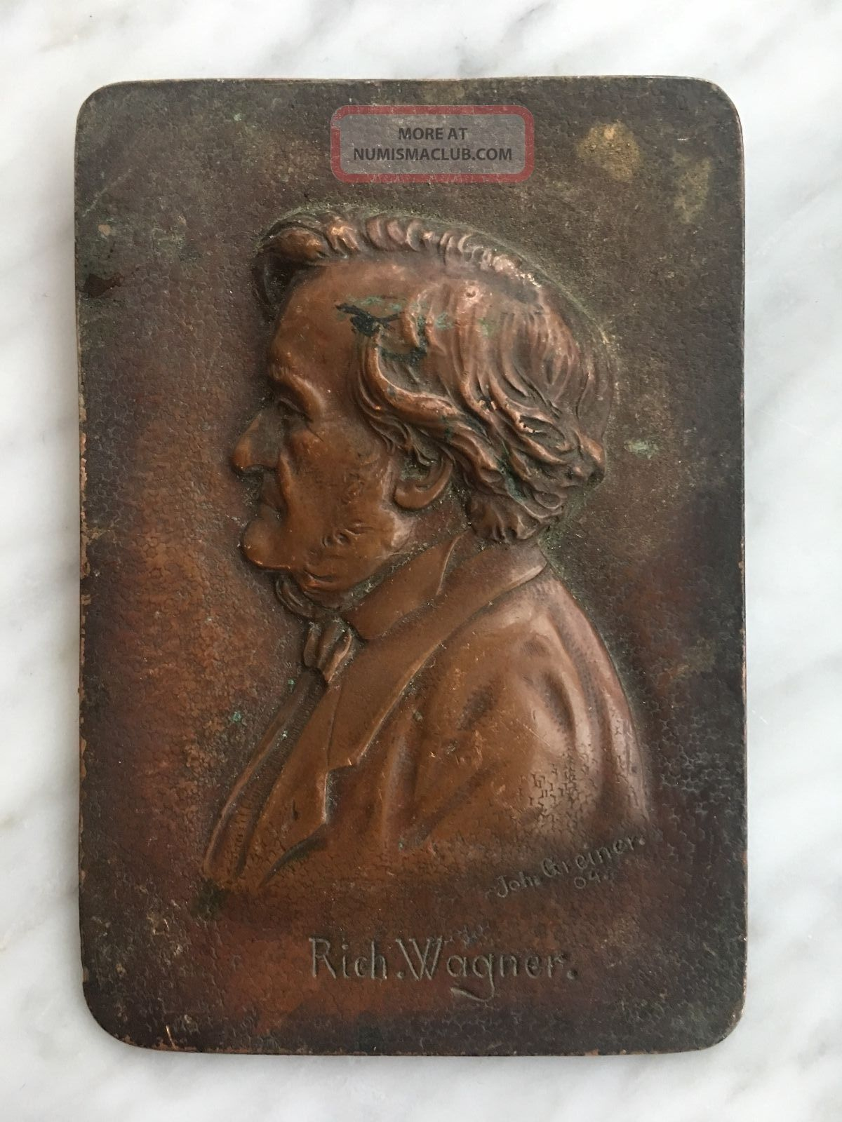 1904 Portrait In Bronze Of German Composer Richard Wagner - Signed Exonumia photo
