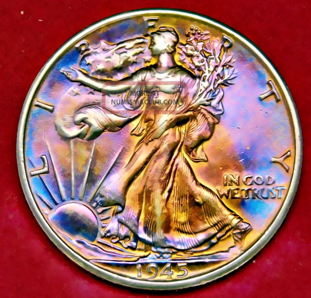 1945 S Walking Liberty Bu Unc Ms,  Toning Error Coin 715 11 Half Dollars photo