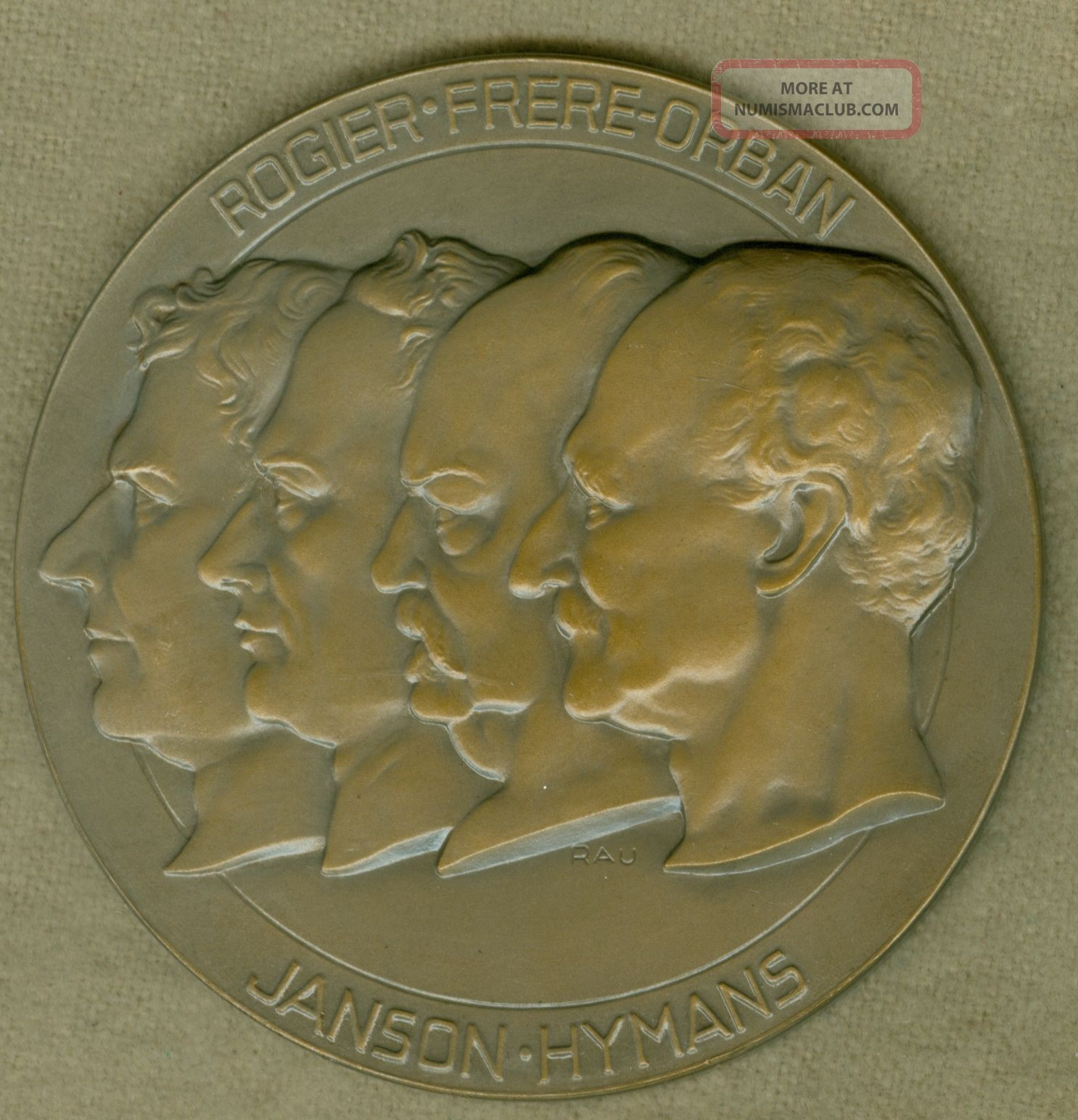 1946 Belgium Medal For The 100 Year Anniversary Of The Liberal Party,  By Rau Exonumia photo