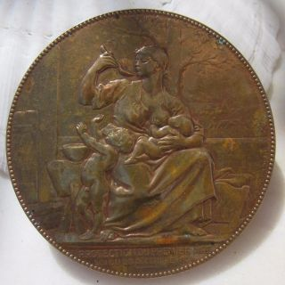 Antique French Art Nouveau Bronze Medal Chaplain Protection Of The Baby Children photo