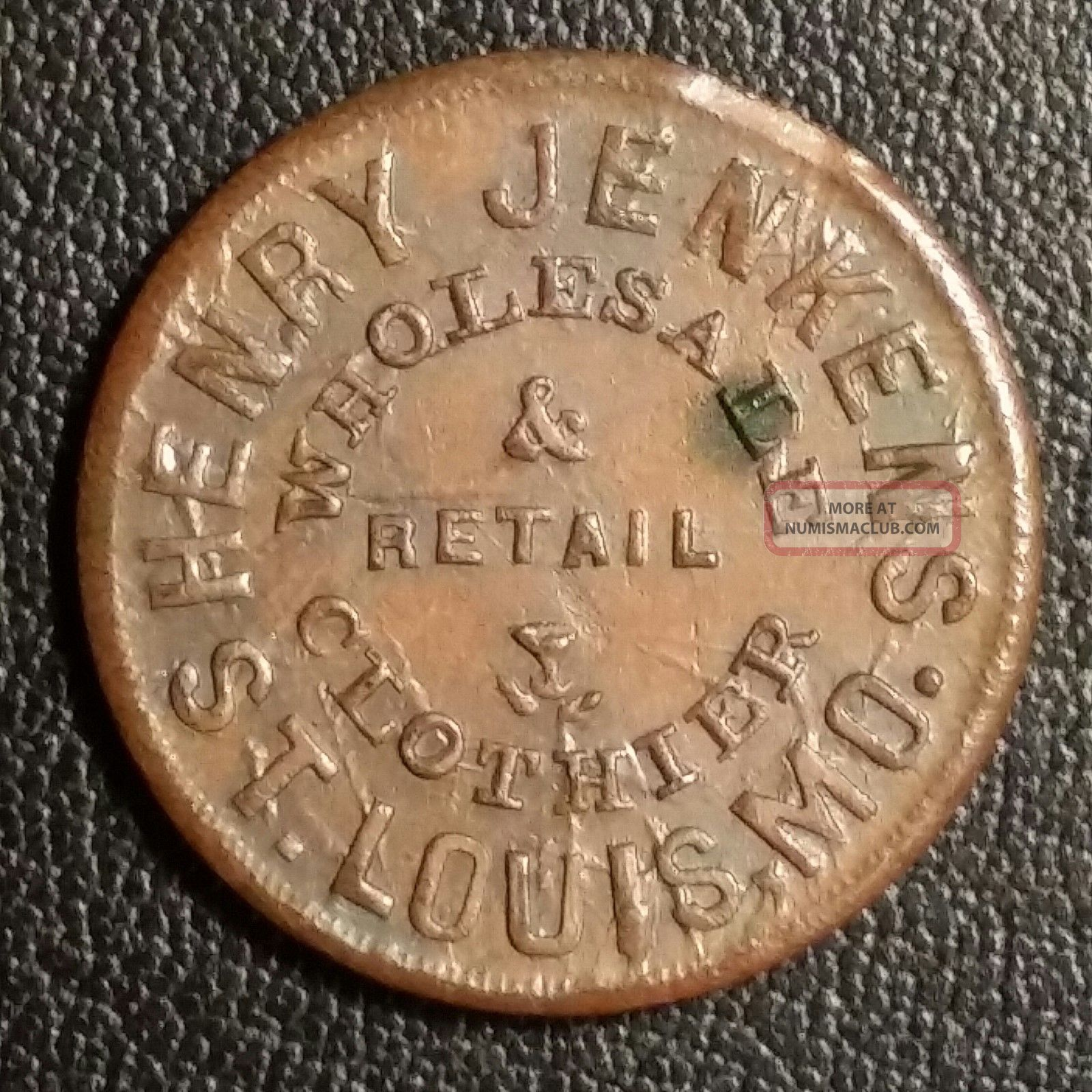 Henry Jenkins Clothier St.  Louis 1863 Civil War Store Card Mo910c - 1a Exonumia photo