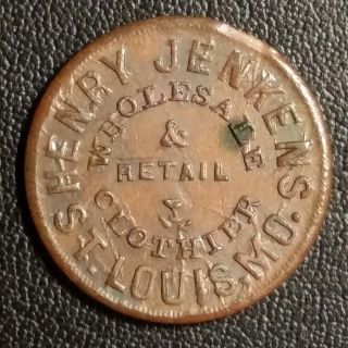 Henry Jenkins Clothier St.  Louis 1863 Civil War Store Card Mo910c - 1a photo