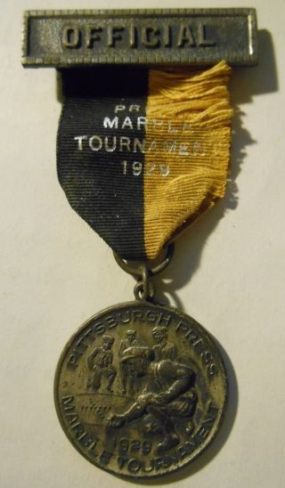 1929 Pittsburgh Press Marble Tournament ' Official ' Medal Complete & Real $0s&h photo