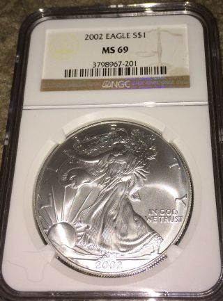 2002 1oz Ngc Proof Silver American Eagle Pr - 69 Pcgs Coin Ana & Png photo