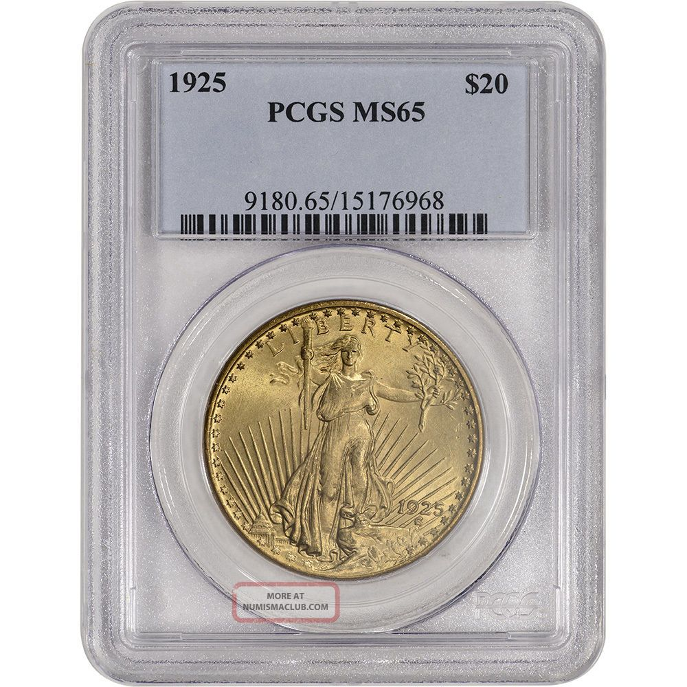 1925 Us Gold $20 Saint - Gaudens Double Eagle - Pcgs Ms65 Gold photo