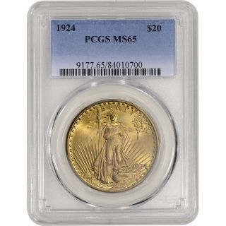 1924 Us Gold $20 Saint - Gaudens Double Eagle - Pcgs Ms65 photo