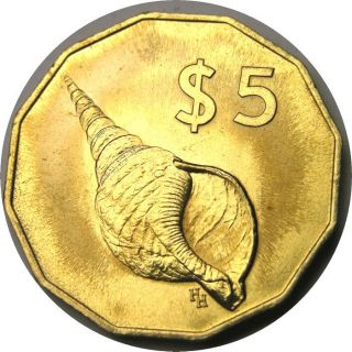 Elf Cook Islands 5 Dollars 1987 Conch Shell photo