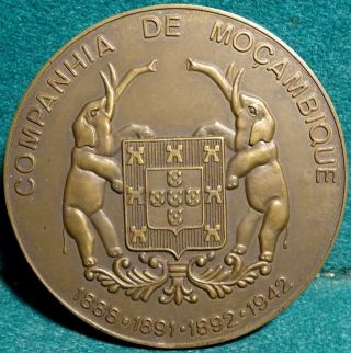 Elephants & Quinas / Portuguese Decoration - Mozambique 69mm 1971 Bronze Medal photo