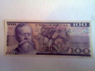 100 Peso Mexico Banknote Unc.  1982 Carranza Bdm photo